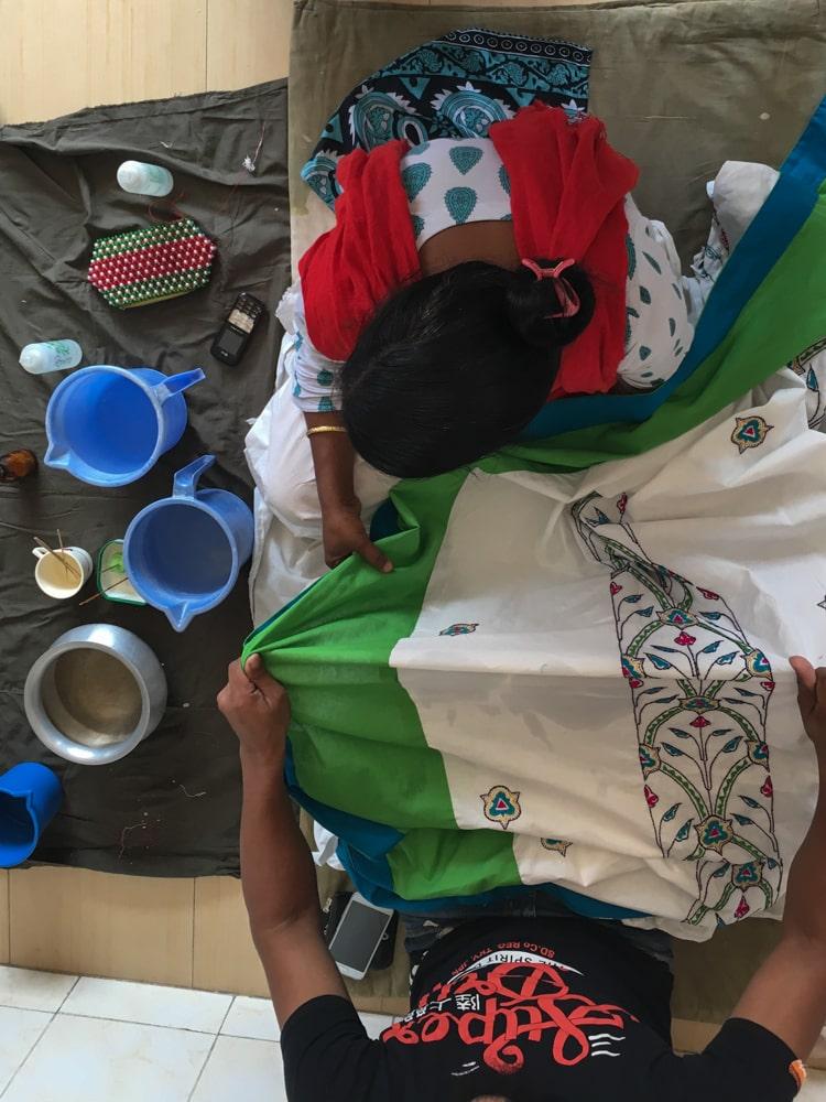 Uttara embroidery overhead shot– Handmade Textiles of Bangladesh