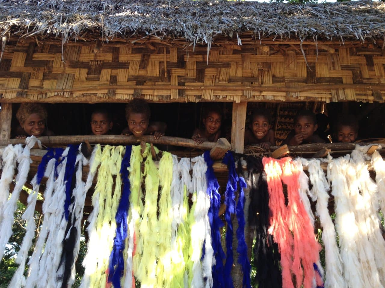 The people of Vanuatu with Tiago Valente's textiles (Photo: Tiago Valente)